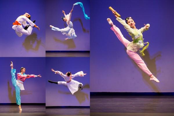 圖為2014年10月11日,52名來自世界各地的第六屆「全世界中國舞舞蹈大賽」入圍複賽選手,在紐約曼哈頓社區學院翠柏卡表演藝術中心再次展開競技。(愛德華/大紀元)